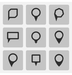 Pointer black icons set various forms vector