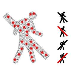 Polygonal network forbidden walking man pictograph vector