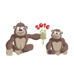 Postcard Year of the Monkey 2016 vector image