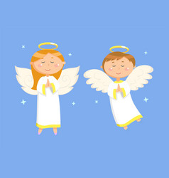 praying couple girl and boy with wings vector image