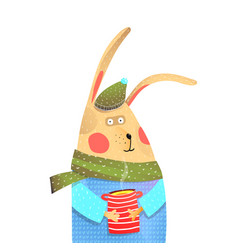 Rabbit with cup of tea drinking vector