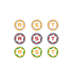 ribbon circle star initial set vector image