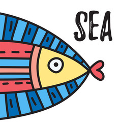 sea lettering with big fish vector image
