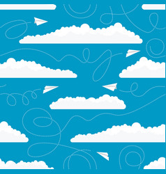 seamless pattern with white paper airplanes and vector image