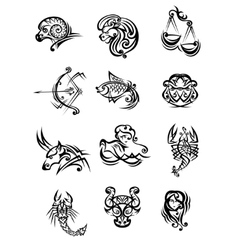 Set of black and white zodiac signs vector image