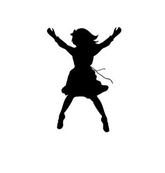 silhouette happy girl jump up vector image