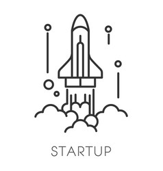 Spaceship launch startup technology isolated vector
