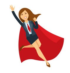 Superwoman in office skirt suit and red cloak vector