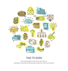 Time to work decorative icons set vector