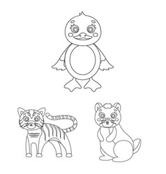 toy animals outline icons in set collection for vector image