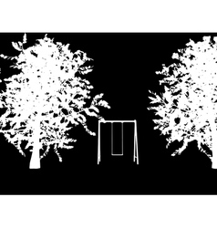 tree with a swing on night stars sky vector image