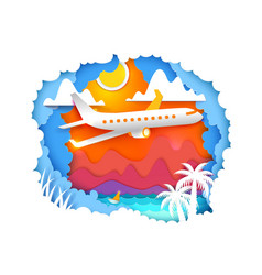 Tropic paper art with aircraft vector