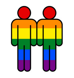 Two man lgbt movement rainbow flag vector