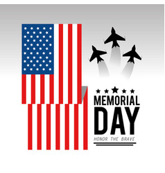 Usa flag with airplanes to memorial day vector