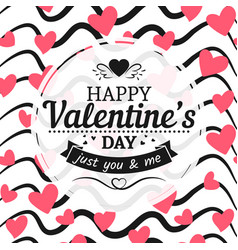vintage valentines day card sign hearts and hand vector image