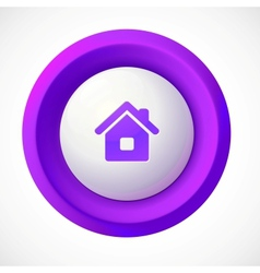 Violet plastic home round button vector