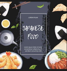 Watercolor design with japanese plates vector