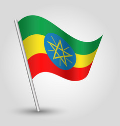 Waving simple triangle ethiopian flag on stick vector