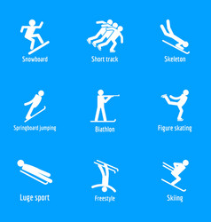 winter sport symbols icons set simple style vector image