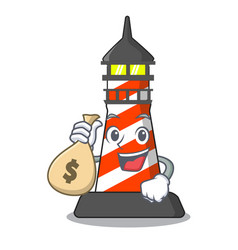 with money bag lighthouse character cartoon style vector image