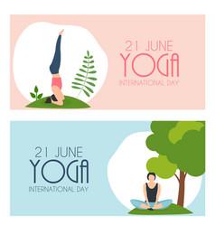 Yoga international day 21 june background vector