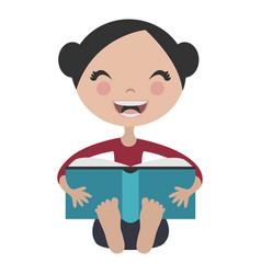 Cartoon girl reading fun book vector