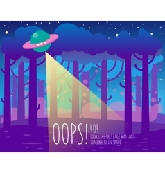Error page flat template with ufo and Earth vector image vector image