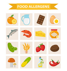 food allergen icon set flat style allergy vector image vector image