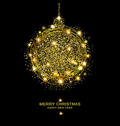 golden christmas ball of sparkles vector image
