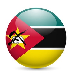 Round glossy icon of mozambique vector image