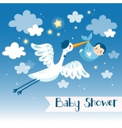 Baby boy shower invitation card with stork vector