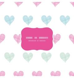 Colorful polka dot textile hearts frame seamless vector image