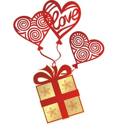 Gift love balloon vector image vector image