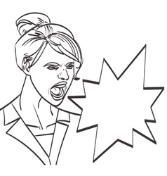 art of screaming woman lineart isolated vector image vector image