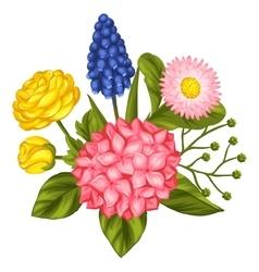 Bouquet with garden flowers decorative hortense vector