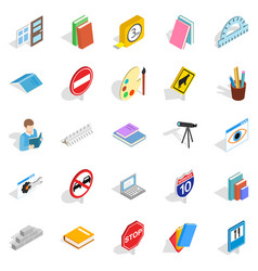 debriefing icons set isometric style vector image