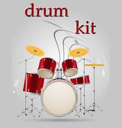 drum set kit musical instruments stock vector image