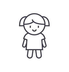 girl doll line icon sign on vector image vector image