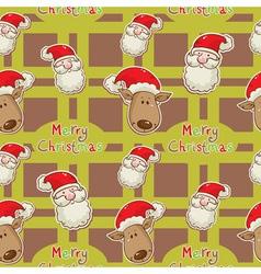 santa deer seamless big redgreen2 vector image