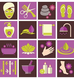 Spa and beauty icons set vector image