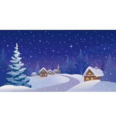 Winter night village vector image