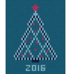 Christmas stylized tree with red star and balls vector image