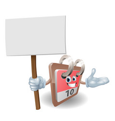 cute calendar character holding a sign vector image