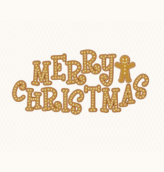 gingerbread font merry christmas christmas vector image vector image