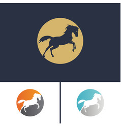 Set logo running horse two-colored circle and vector