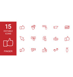 15 finger icons vector image