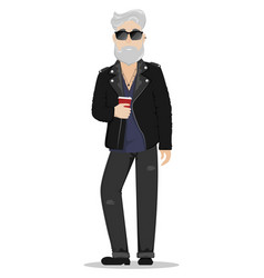 a hipster man with gray hair and a beard vector image