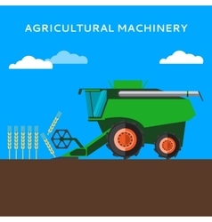 Agricultural combine machine is harvesting on the vector