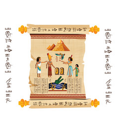 ancient egypt papyrus scroll cartoon vector image
