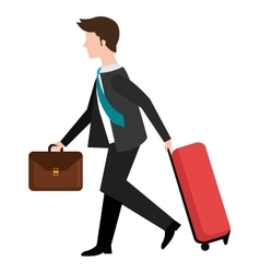 avatar business man and travel bag graphic vector image